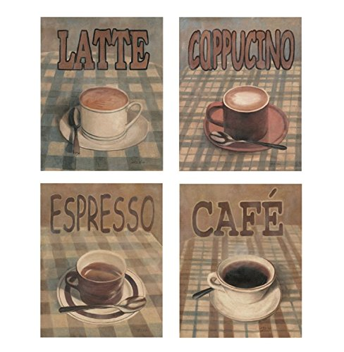 wallsthatspeak 4 New Cafe Art Prints Posters Coffee Posters Kitchen Decor 8x10 Inches Great for Framing ()
