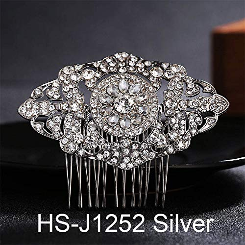 Simulate Austrian Crystal - Various Styles Bridal Hair Combs Wedding Hair Accessories Austrian Crystal Head Jewelry Women Hairpieces Hair Clips HS-J1252 Silver