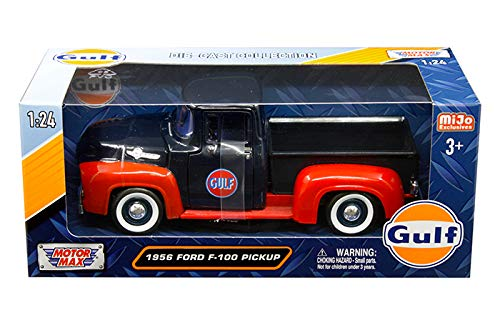 Motormax 1956 Ford F100 Pickup Truck Gulf Dark bluee Red 1 24 Diecast Model Car