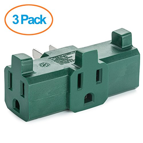 Yubi Power 3 Outlet Adapter - Green Wall Tap Adapter - 3 Grounded Wall Adapter - ETL Listed - 3 Pack