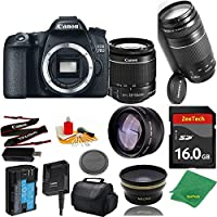 Great Value Bundle for 70D DSLR – 18-55mm STM + 75-300mm III + 16GB Memory + Wide Angle + Telephoto Lens + Case