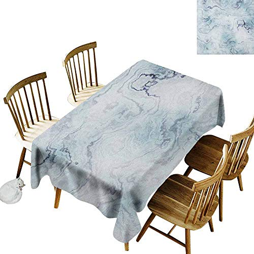 Brick Vinyl Ottoman - DONEECKL Marble Colorful Tablecloth Protection Table Soft Pastel Toned Abstract Hazy Wavy Pattern with Ottoman Influences Image Pale Blue Grey Mint W60 xL84