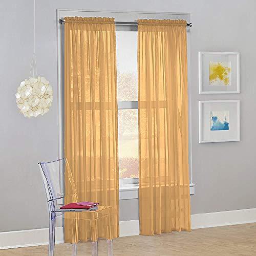 "Decotex Set of 2 Sheer Voile Transparent Window Panel Curtain Drapes (54"" W X 95"" L, Gold)"