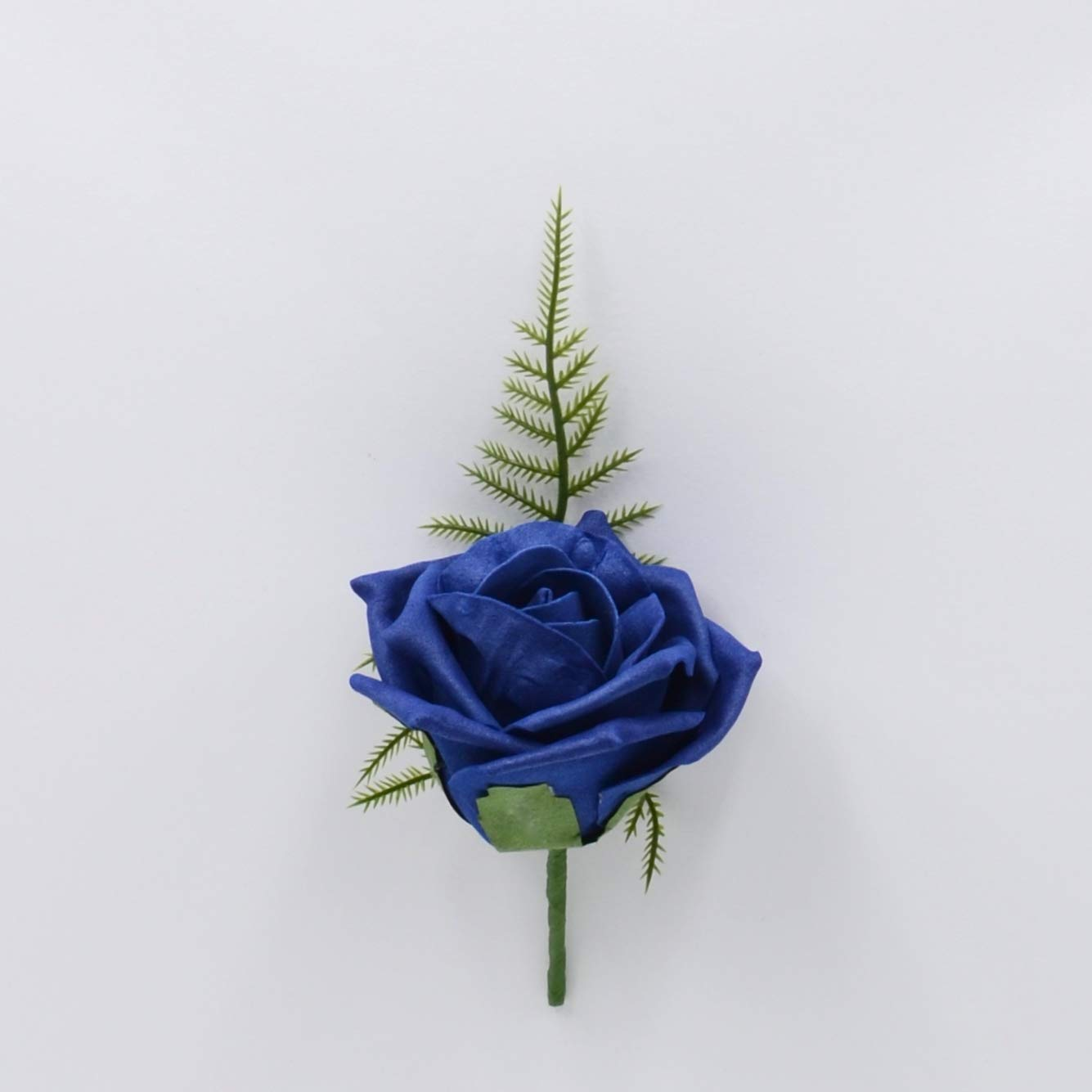 Artificial Wedding Flowers Hand-Made by Petals Polly, Foam Rose Buttonhole in Navy Blue PETALS POLLY FLOWERS