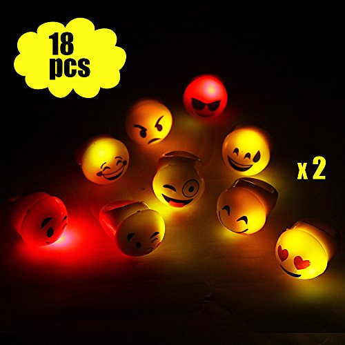 Light up Emoji Rings Package of 18