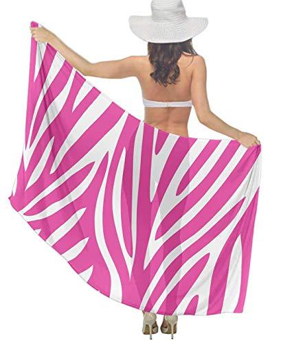 Women's Chiffon Pink Zebra Print Beach Scarf Soft Smooth Sunscreen Wrap Shawl Scarves Bikini Cover-up Wrap Scarf Swimsuit Sarongs Summer Beach Coverups