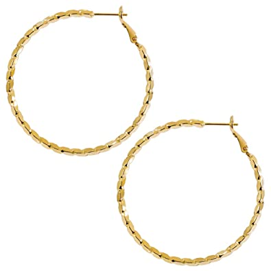 1998025a7a82a Amazon.com: Textured Hoop Earrings 14K Gold Plated Thin Hoop Stud ...
