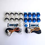 Easyget 2 Player LED Illuminated Arcade Game DIY Parts Kit for USB MAME & Raspberry Pi RetroPie Cabinet DIY Color: Blue + White