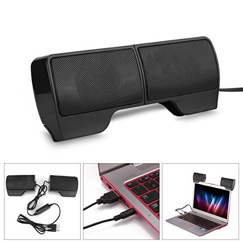 YChoice365 Portable USB Mini Soundbar,Portable Clip-On USB Powered Stereo Speaker Soundbar for Notebook Laptop PC…