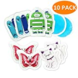 Kids Ice Pack Boo, Reusable Toddler Cold Gel Pack for Injuries Pain Relief, as Children's Pals great for Headaches, Toothache, Tired Eyes, Bumps, Bruise (Round, Cat, Robot, Butterfly, Scooter)10 Packs