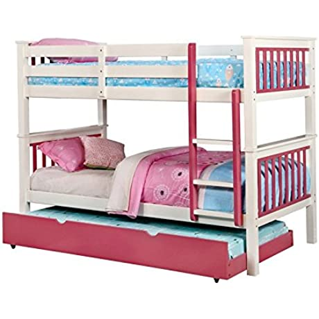 Corrin Pink White Finish Dual Twin Size Bunk Bed With Trundle