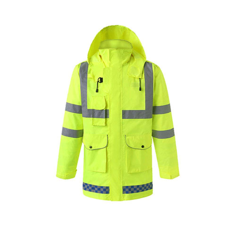 YYHSND Reflective Raincoat, Traffic Warning Adult Split Reflector, Motorcycle Riding Thick Waterproof Suit Reflective Vests (Size : XL) by YYHSND (Image #5)