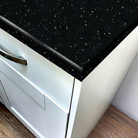 Quarzo Nero Lucido Laminato Cucina Piano Di Lavoro 3 05m X 900mm X 38mm Breakfast Bars Amazon It Casa E Cucina