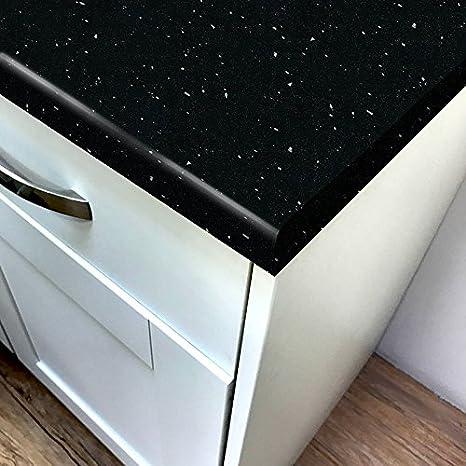 Quarzo nero lucido laminato cucina piano di lavoro 3.05m x 900mm x ...