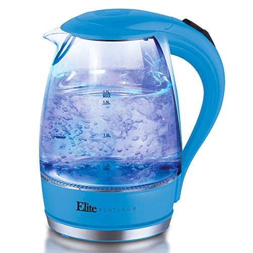 Elite Platinum EKT-300BL Glass Electric Tea Kettle Hot Water Heater Boiler BPA Free with LED Indicator, Fast Boil and Auto Shut-Off, 1.7L, Blue (Best Kettle To Boil Water For Baby)