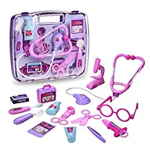 Minidiva Portable Simulation Doctors or Nurses Role Play Game Medical Doctor's Toys Medicine Cabinet Sets for Children Kids (Purple)