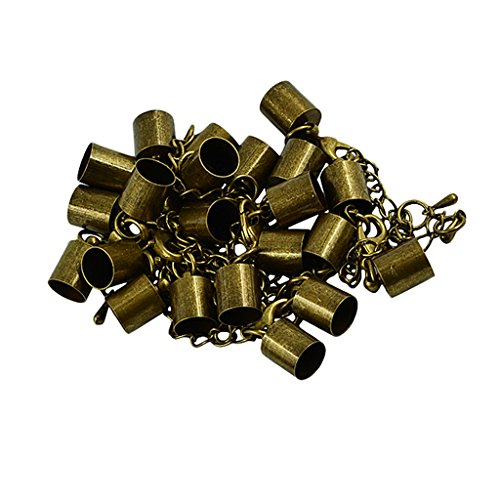 Cap Accessories Bronze (Flameer 12 Sets Extender Chain with Cord End Caps Findings Jewelry Making Accessories - Bronze)