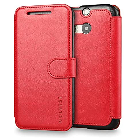 M8 Case,HTC One M8 Case Wallet,Mulbess [Layered Dandy][Vintage Series][Wine Red] - [Ultra Slim][Wallet Case] - Leather Flip Cover With Credit Card Slot for HTC One (M8 Cell Phone Case Wallet)