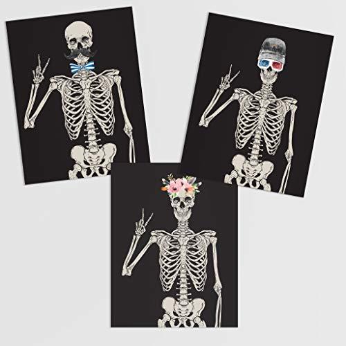 Hipster Skeleton Wall Art Prints - 3 Unframed