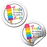 ice cream labels - Rainbow Ice Cream Cone Birthday Party Thank You Sticker Labels, 20 2