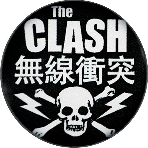 The Clash Kanji with Skull & Crossbones Logo Button/Pin - Pin Crossbones