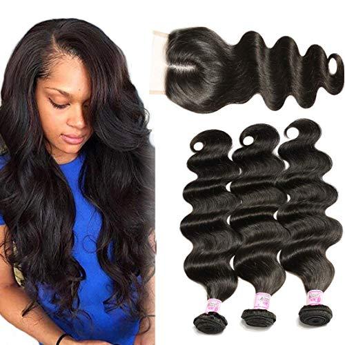 B&F Hair 3 Bundles Brazilian Virgin Hair Body Wave Bundles with 44 Middle Part Lace Closure 100% Unprocessed Human Hair Weave Extensions Nature Color (16 18 20+ 12 Closure)