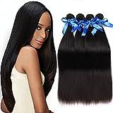 Brazilian Virgin Straight Human Hair 4 Bundles 100% 7A Unprocessed Remy Hair Weave Bundles Human Hair Extension Deal Natural Color (20 22 24 26)
