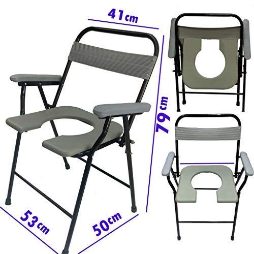 SUPREME HEAVY DUTY FOLDABLE COMMODE CHAIR EASY TO FOLD AND CLEAN