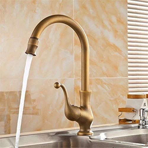 Zxyan 蛇口 立体水栓 バスルームのシンクのためのバスルームのシンクミキサータップアンティーク温水と冷水単穴シングルレバータップ トイレ/キッチン用