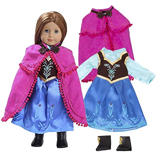 Anna Frozen Inspired Doll Outfit (3 Piece Set) - Clothes Fit American Girl & 18 Dolls & Include Dress, Shawl, Shoes - Premium Costume Apparel for Dolls