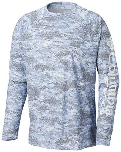 - Columbia Men's PFG Terminal Deflector Printed Long Sleeve Shirt ,White Cap Digi Scale Print,Small