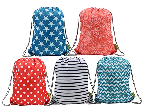 BeeGreen Water Resistant Ripstop Polyester Drawstring Backpack Bags for Kids with Pattern Printing on 2 Sides, 5 Designs in a Set
