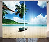 Cheap Ambesonne Tropical Curtains, Wooden Boat Seychelles Beach with Palm Trees Paradise Ocean Scenery, Living Room Bedroom Window Drapes 2 Panel Set, 108W X 84L inches, Beige Hunter Green Blue