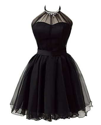 0c907d53f1fc QiJunGe Halter Short Prom Dresses Cute Little Black Short Homecoming Dress  Black US 2