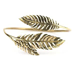 Brass Laurel Leaf Vintage Style Bangle Cuff Bracelet