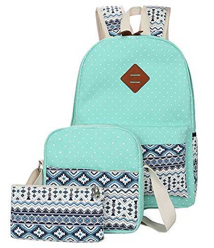 Viniolve Canvas Dot Backpack Cute Lightweight Bookbag School Shoulder Bags for Teen