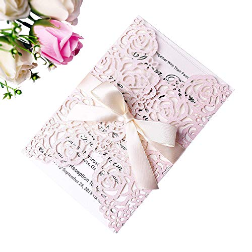 (PONATIA 25PCS/Lot 250GSM 5.12 x 7.1'' Glitter Wedding Invitations Cards Laser Cut Hollow Rose With Pink Ribbons For Bridal Shower Engagement Birthday Graduation Invite (Light Pink Glitter))
