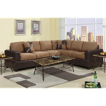 piece classic large microfiber leather sectional sofa matching accent pillows colors hazelnut brown chocolate red modern joffrey 3 with 2 power recl