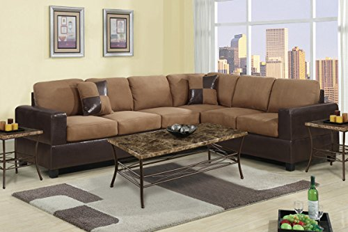 2 Piece Classic Large Microfiber and Faux Leather Sectional Sofa with Matching Accent Pillows - Colors Hazelnut Brown, Chocolate, and Red (Hazelnut) by Divano Roma Furniture