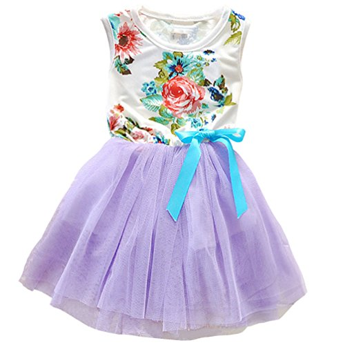 Csbks 1 2 3 4 5 Years Kid Girls Cute Floral Sundress Tulle Tutu Skirt Tank Dress 3T Purple