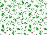 Pack Of 1, 40'' X 100' 1.0 Mil Hollyday Berries Christmas Print Cello Rolls W/Swirls Of Green Holly Leaves With Red Berries Made In USA