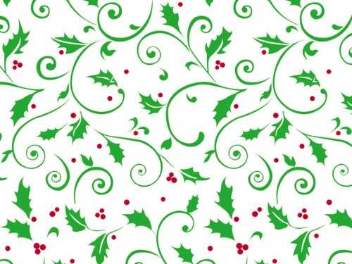 Pack Of 1, 40'' X 100' 1.0 Mil Hollyday Berries Christmas Print Cello Rolls W/Swirls Of Green Holly Leaves With Red Berries Made In USA by Generic