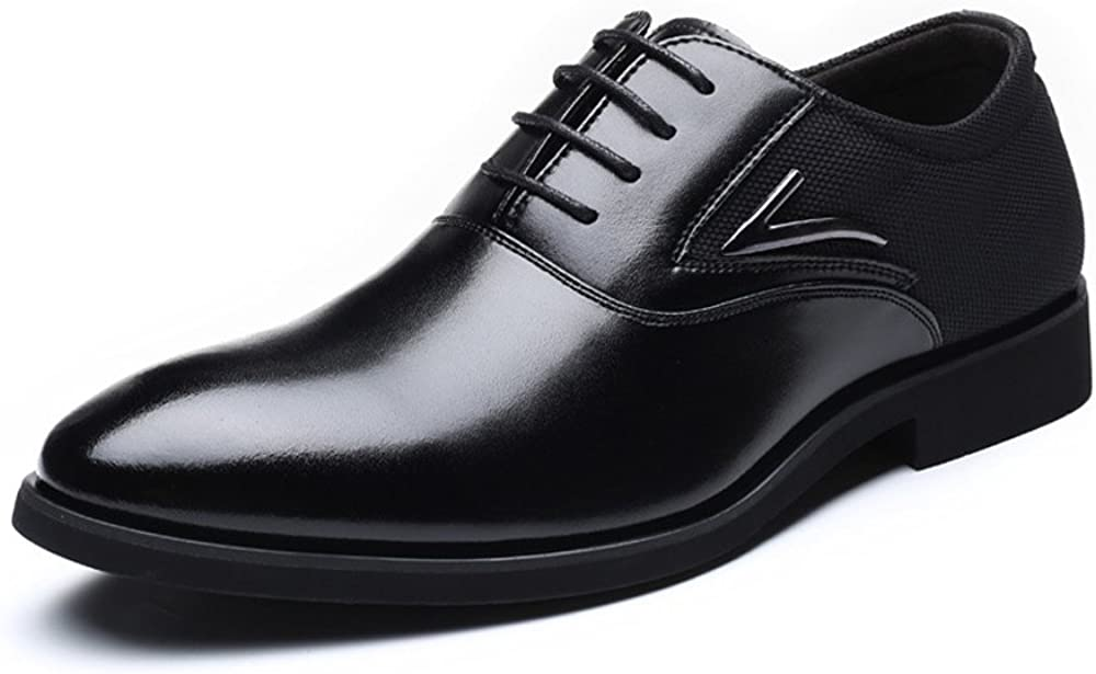 Shufang-shoes Mens Formal Business Shoes Smooth PU Leather /& Canvas Splice Upper Lace Up Breathable Lined Oxfords