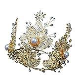 Girls Crown, Beautiful headdress/Baroque Golden Crown Romantic Wedding Bridal Headwear Crystal Crown Queen'S Birthday Stage Wedding Jewelry.