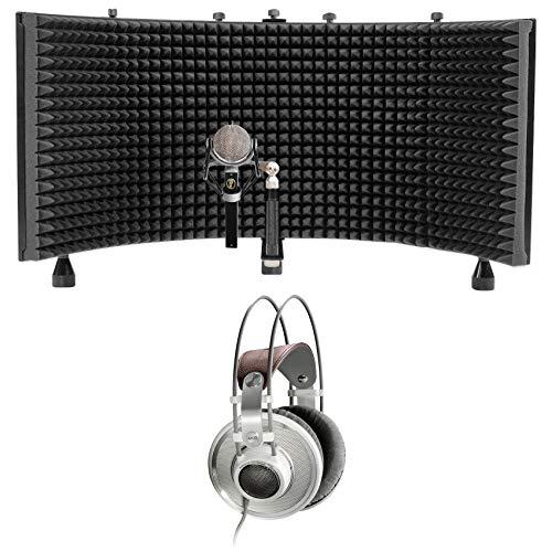 Blue Dragonfly Studio Condenser Microphone Rotating Mic+AKG Headphones+Shield
