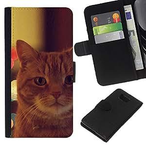Garfield Ginger Orange Mongrel Cat - la tarjeta de Crédito Slots PU Funda de cuero Monedero caso cubierta de piel Samsung ALPHA G850