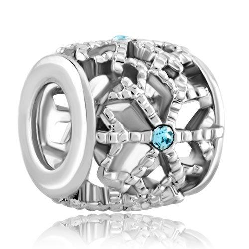 LovelyJewelry Beads Snowflake Lucky Charms Aquamarine Blue Swarovsk Celtic Filigree - For Bead & Bracelet