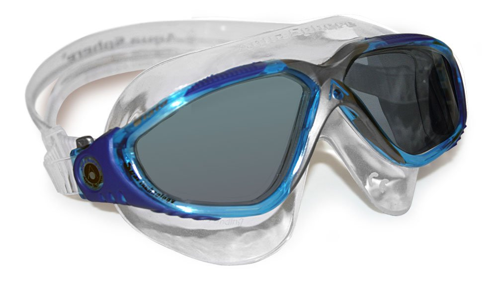 Aqua Sphere Vista Swim Mask Goggles, Smoke Lens, Aqua/Blue/Grey