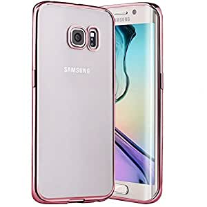 Galaxy S7 Edge Case, YEONPHOM Metal Plating TPU Bumper and Scratch Resistant Transparent Clear Flexible Silicone Back Protective Case for Samsung Galaxy S7 Edge (Rose Gold)