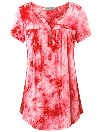 Guess Printed Plaid Shirt - Short Sleeve Shirts for Women,Misses Tops Henley V Neck Short Sleeve Jersey Tunic Plain Feminine Button Embellished Tie-dye Round Hemline Pleated Blouse Daily Home Wear Red XXL